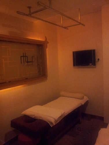 massage room - there is a window that gives into the next room for security purposes